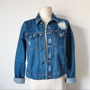 Forever 21 Cropped Distressed Denim Jacket XS